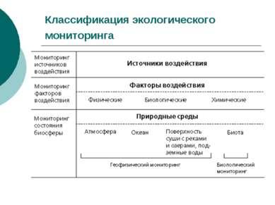 Классификация экологического мониторинга