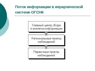 Поток информации в иерархической системе ОГСНК
