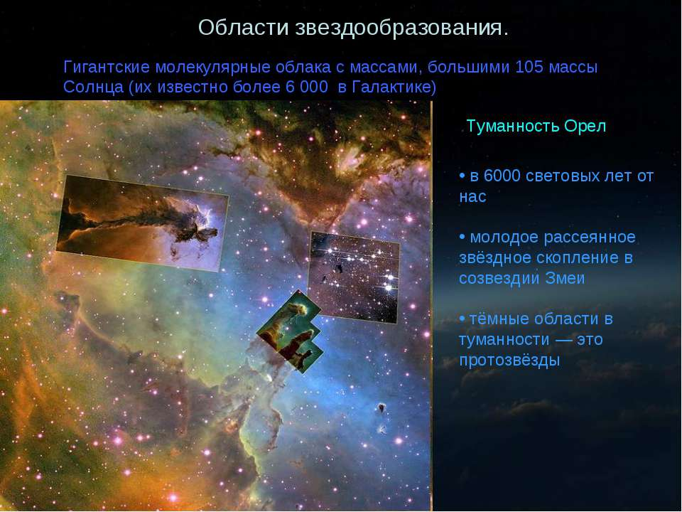 Области звездообразования Области звездообразования. Гигантские молекулярные ...