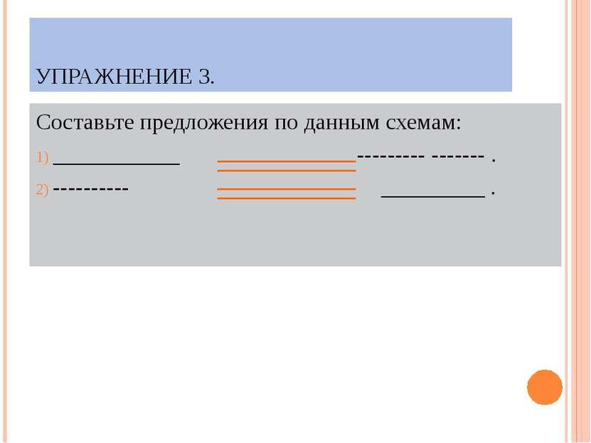 УПРАЖНЕНИЕ 3. Составьте предложения по данным схемам: ___________ --------- -...