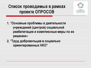 """Список проводимых в рамках проекта ОПРОСОВ 1. """"Основные проблемы в деятельнос..."""