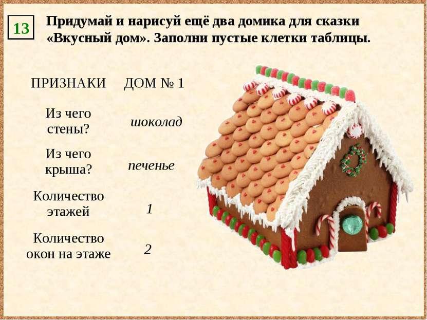 13 1 2 шоколад печенье Придумай и нарисуй ещё два домика для сказки «Вкусный ...