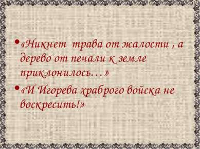 «Никнет трава от жалости , а дерево от печали к земле приклонилось…» «И Игоре...