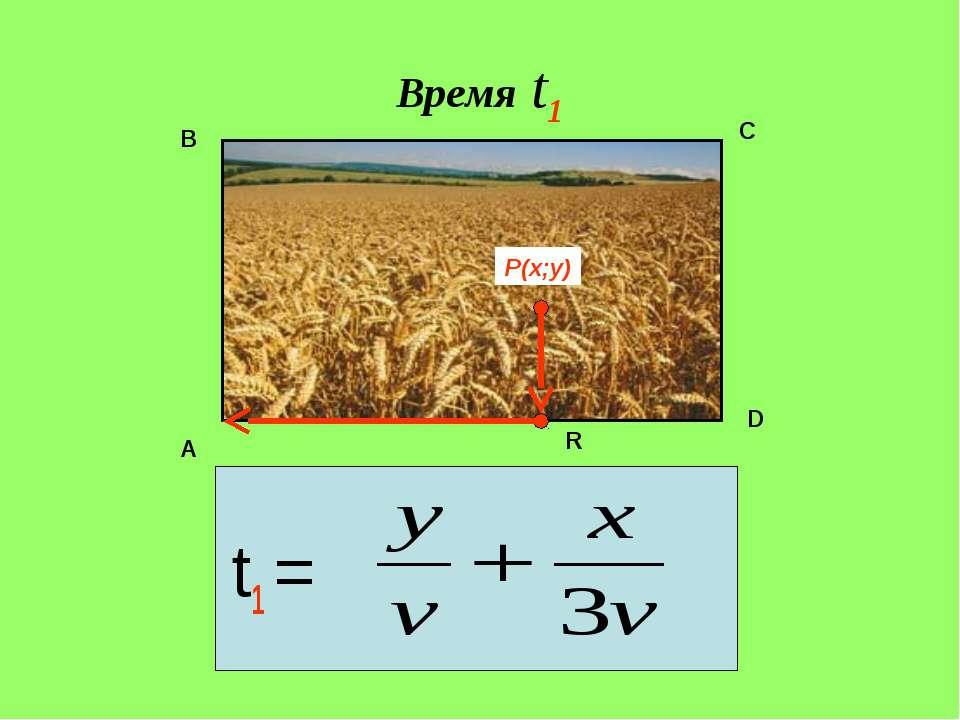 Время t1 t1 = P(x;y) A B C D R