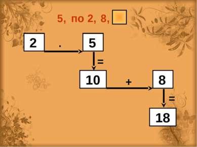 5, по 2, 8, 2 5 10 8 18 ∙ = + =