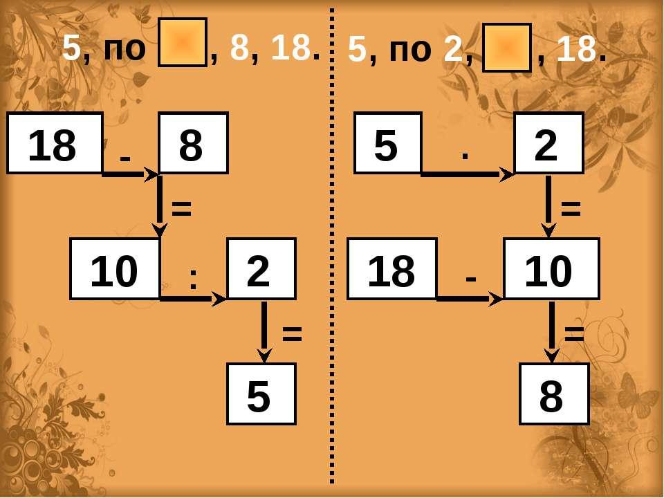 5, по 2, , 18. 5, по , 8, 18. 18 8 10 2 5 - = : = 5 2 18 10 8 ∙ = - =