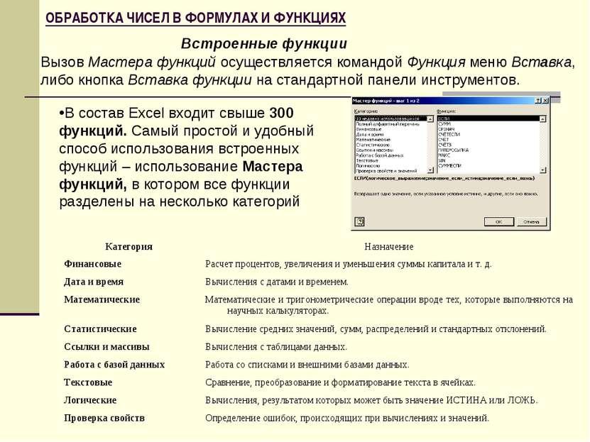 ОБРАБОТКА ЧИСЕЛ В ФОРМУЛАХ И ФУНКЦИЯХ В состав Excel входит свыше 300 функций...