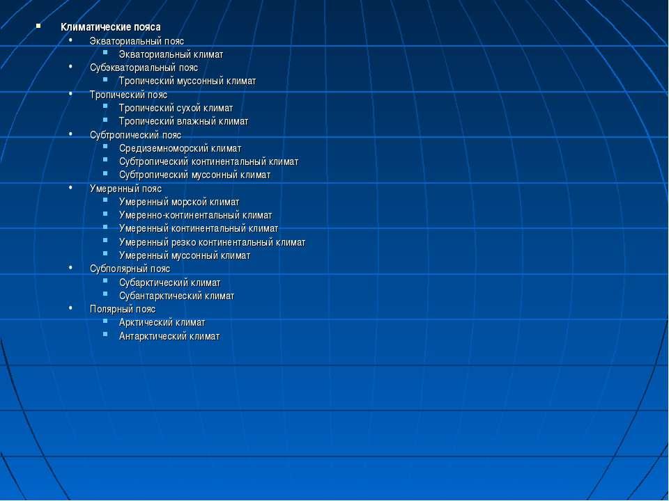 Климатические пояса Экваториальный пояс Экваториальный климат Субэкваториальн...