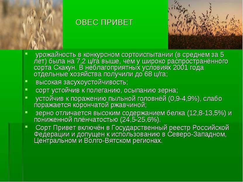 ОВЕС ПРИВЕТ урожайность в конкурсном сортоиспытании (в среднем за 5 лет) была...