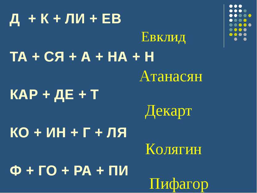 Д + К + ЛИ + ЕВ ТА + СЯ + А + НА + Н КАР + ДЕ + Т КО + ИН + Г + ЛЯ Ф + ГО + Р...