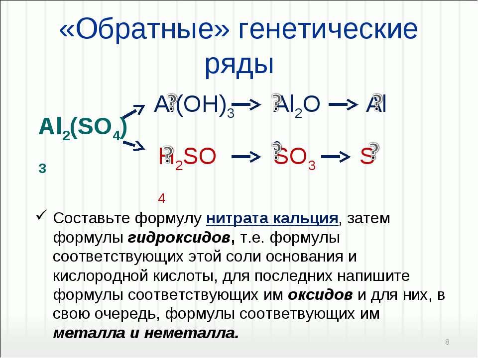 «Обратные» генетические ряды Составьте формулу нитрата кальция, затем формулы...