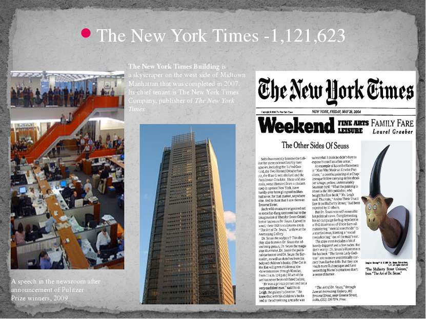 The New York Times -1,121,623 A speech in the newsroom after announcement of...