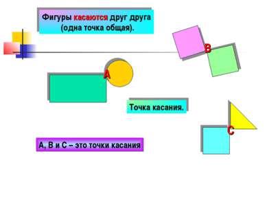 Фигуры касаются друг друга (одна точка общая). Точка касания. А В С А, В и С ...