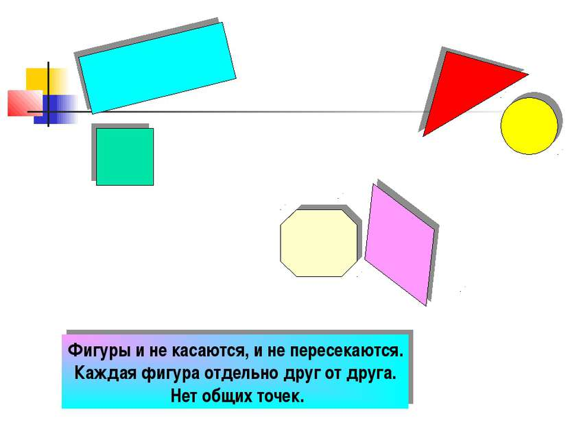 Фигуры и не касаются, и не пересекаются. Каждая фигура отдельно друг от друга...