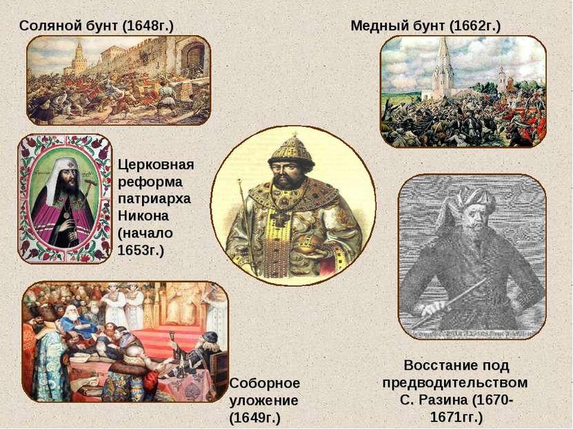 Соляной бунт (1648г.) Медный бунт (1662г.) Восстание под предводительством С....
