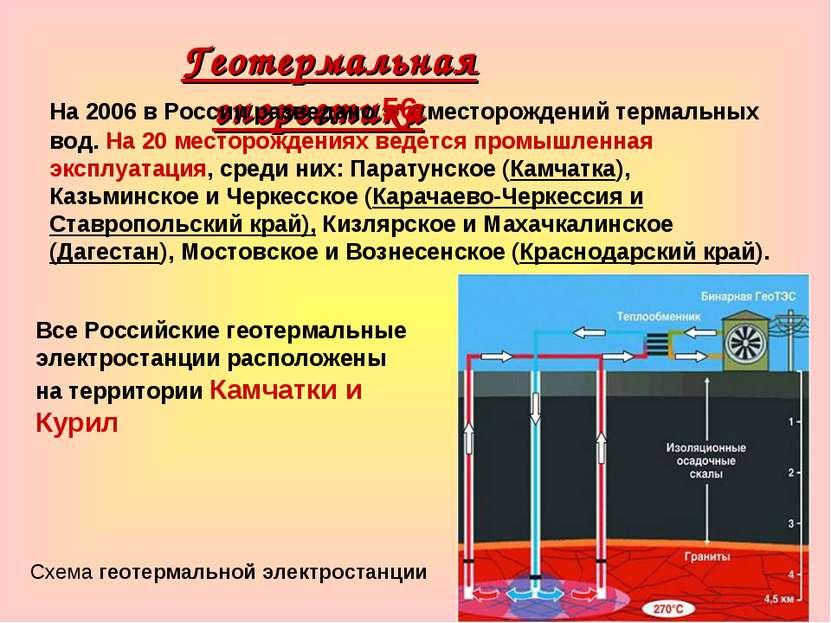 Геотермальная энергетика На 2006 в России разведано 56 месторождений термальн...