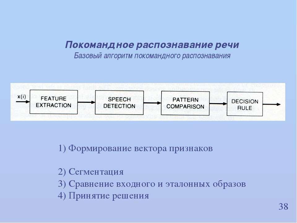 38 1) Формирование вектора признаков 2) Сегментация 3) Сравнение входного и э...