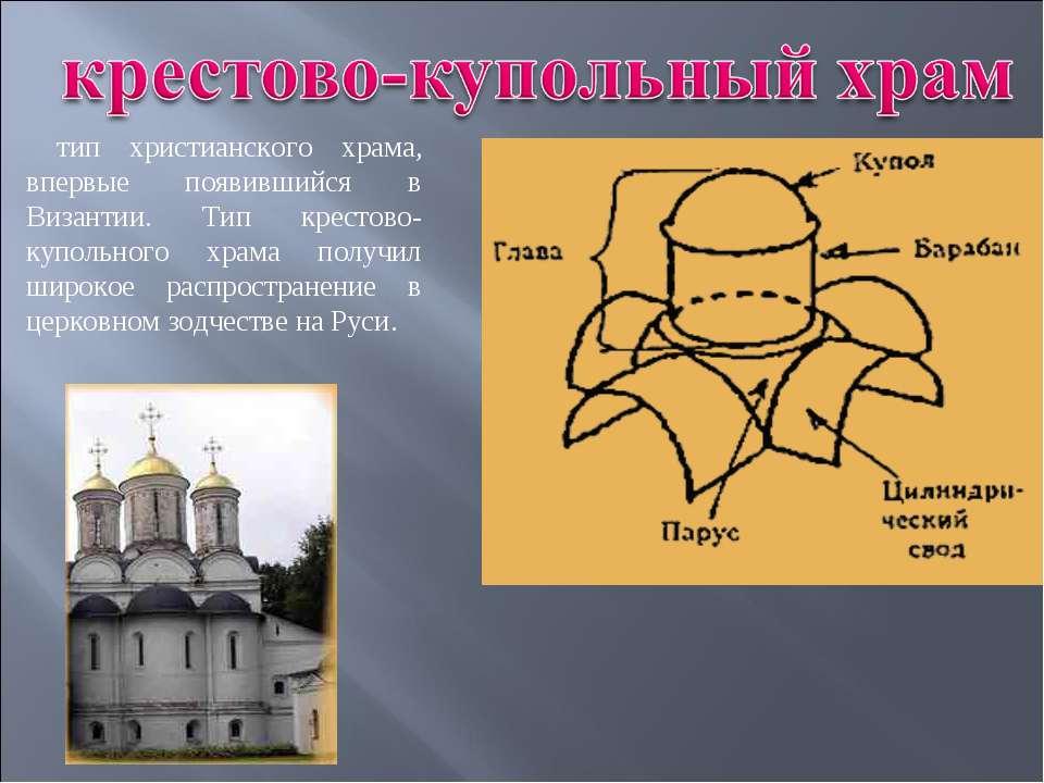 тип христианского храма, впервые появившийся в Византии. Тип крестово-купольн...
