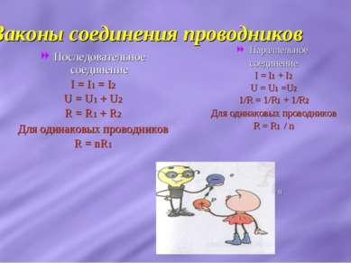 Законы соединения проводников Последовательное соединение I = I1 = I2 U = U1 ...