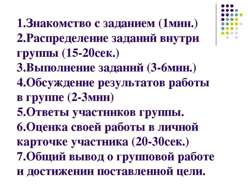 1.Знакомство с заданием (1мин.) 2.Распределение заданий внутри группы (15-20с...
