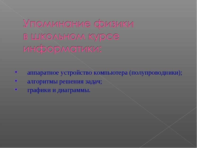 аппаратное устройство компьютера (полупроводники); алгоритмы решения задач; г...