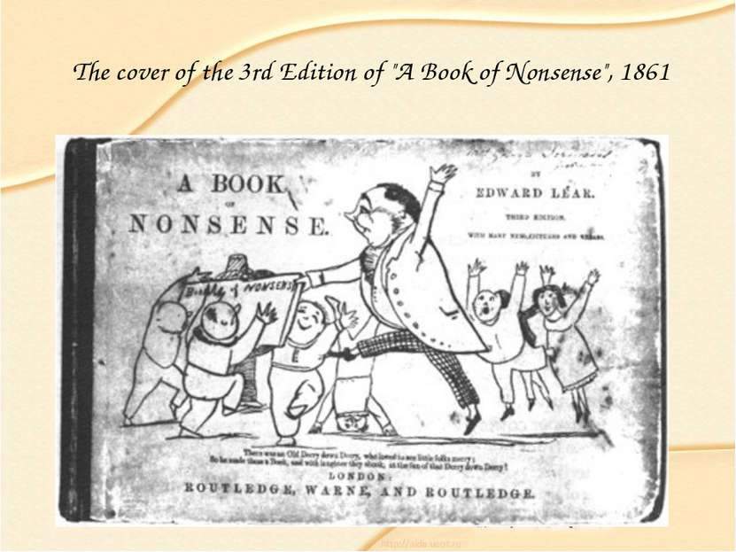 "The cover of the 3rd Edition of ""A Book of Nonsense"", 1861"