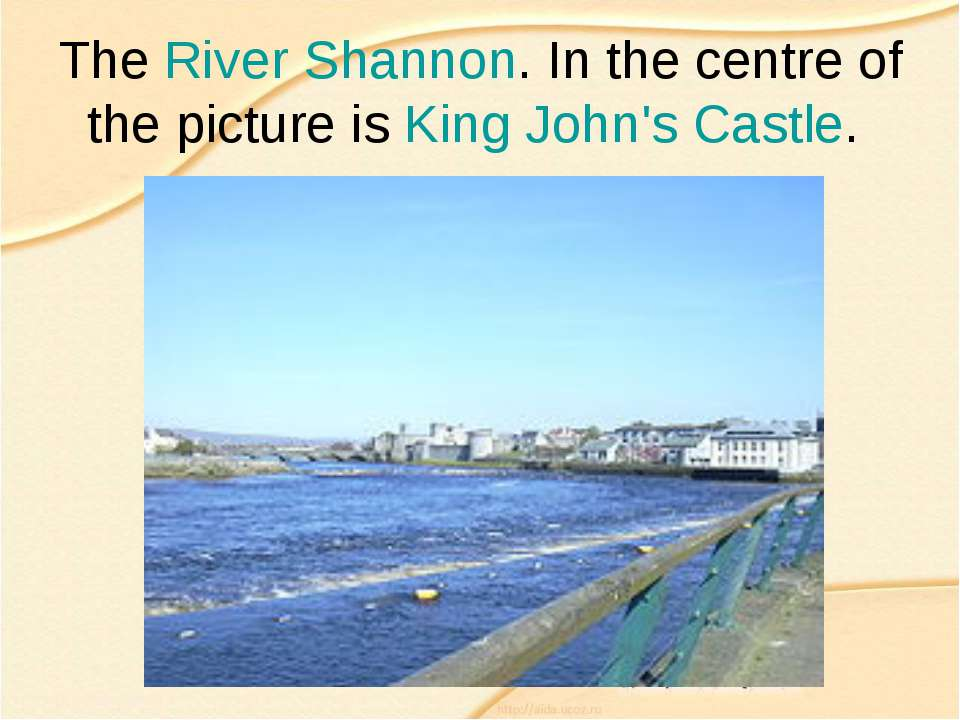 The River Shannon. In the centre of the picture is King John's Castle.