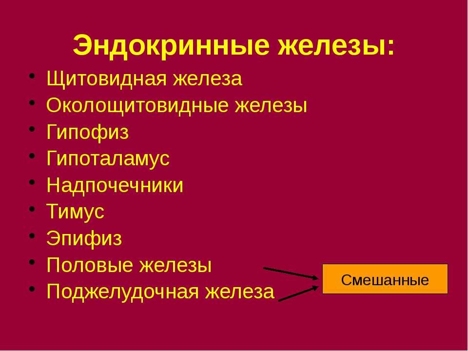 Эндокринные железы: Щитовидная железа Околощитовидные железы Гипофиз Гипотала...