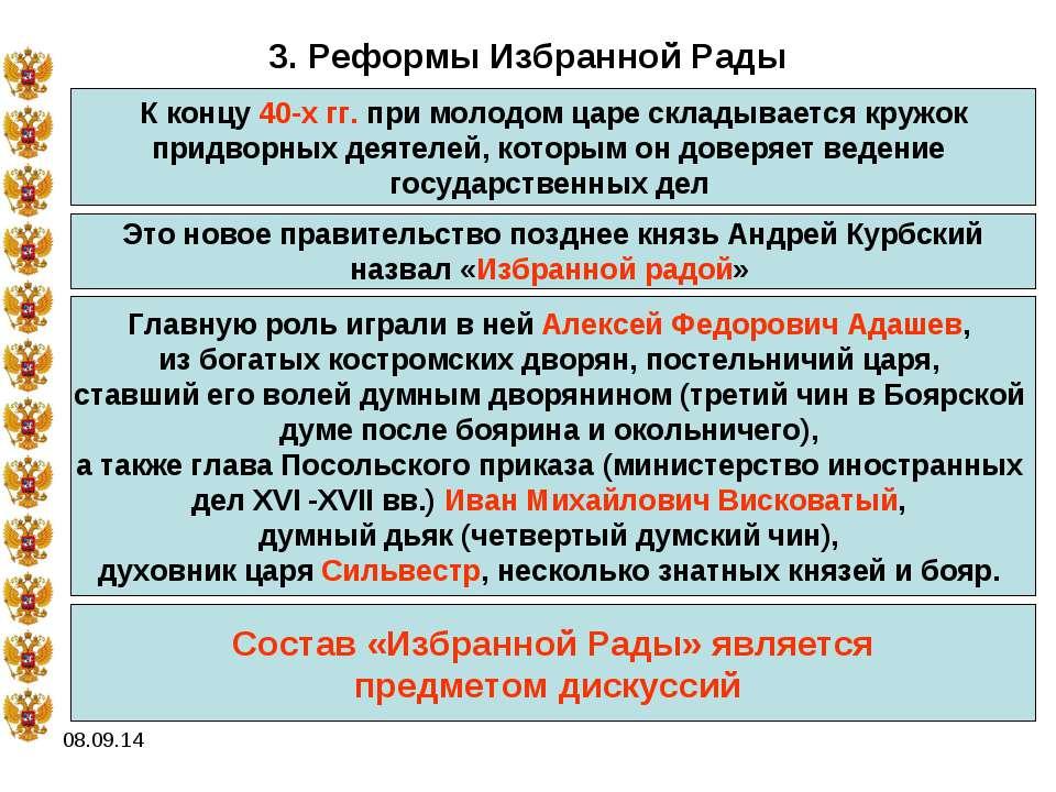 * 3. Реформы Избранной Рады К концу 40-х гг. при молодом царе складывается кр...