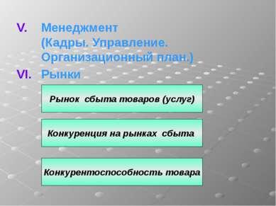 Менеджмент (Кадры. Управление. Организационный план.) Рынки Рынок сбыта товар...