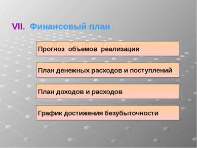 VII. Финансовый план Прогноз объемов реализации План денежных расходов и пост...