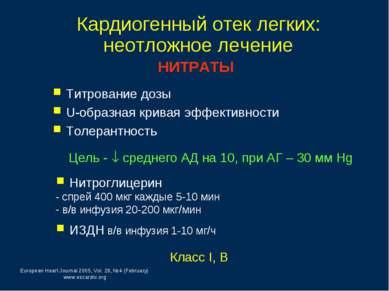 Кардиогенный отек легких: неотложное лечение Класс I, В НИТРАТЫ Титрование до...