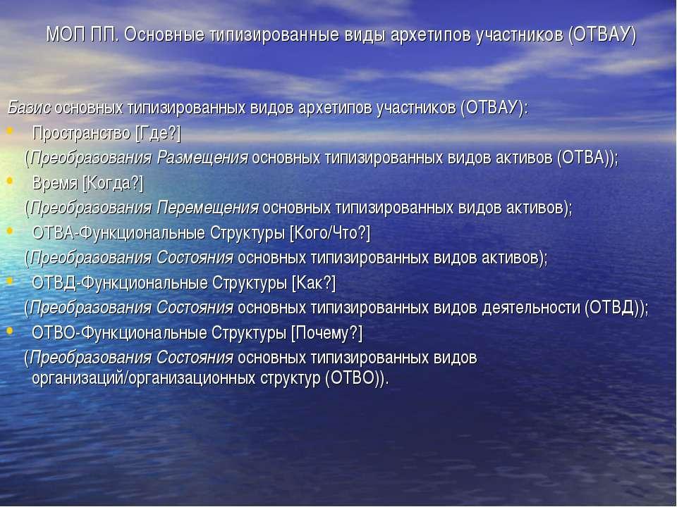 МОП ПП. Основные типизированные виды архетипов участников (ОТВАУ) Базис основ...