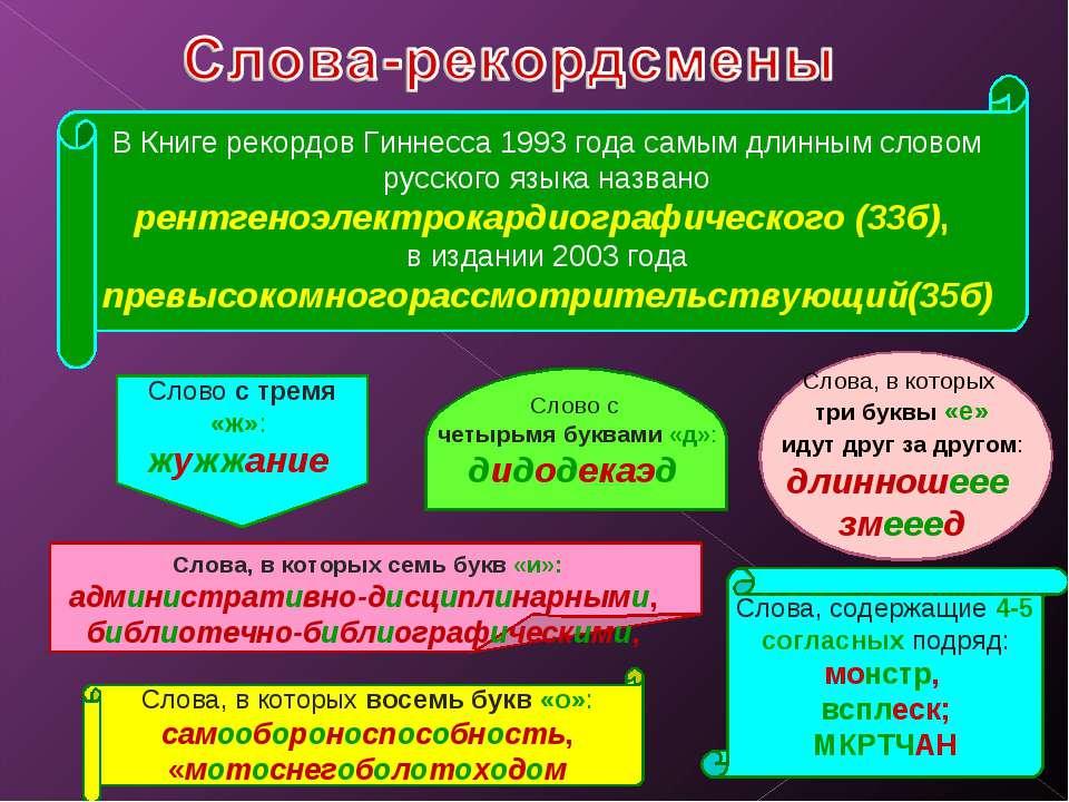 В Книге рекордов Гиннесса 1993 года самым длинным словом русского языка назва...
