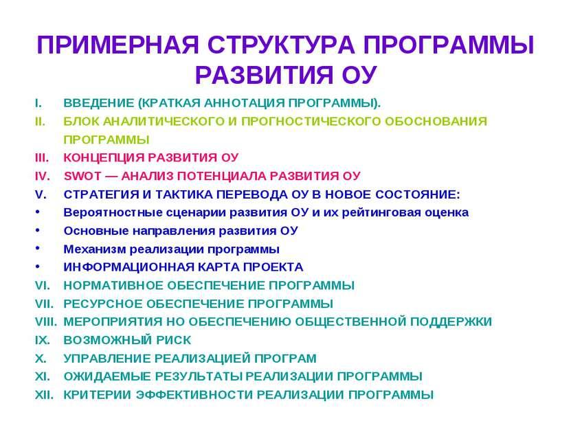 ПРИМЕРНАЯ СТРУКТУРА ПРОГРАММЫ РАЗВИТИЯ ОУ ВВЕДЕНИЕ (КРАТКАЯ АННОТАЦИЯ ПРОГРАМ...