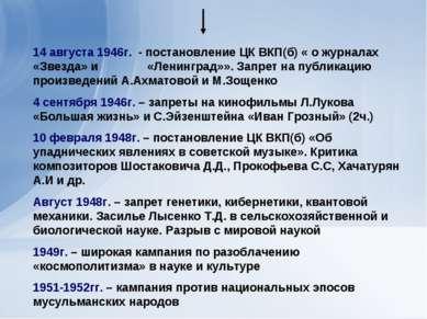 14 августа 1946г. - постановление ЦК ВКП(б) « о журналах «Звезда» и «Ленингра...