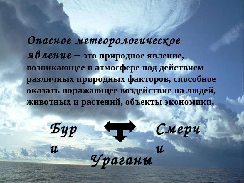 Опасное метеорологическое явление – это природное явление, возникающее в атмо...