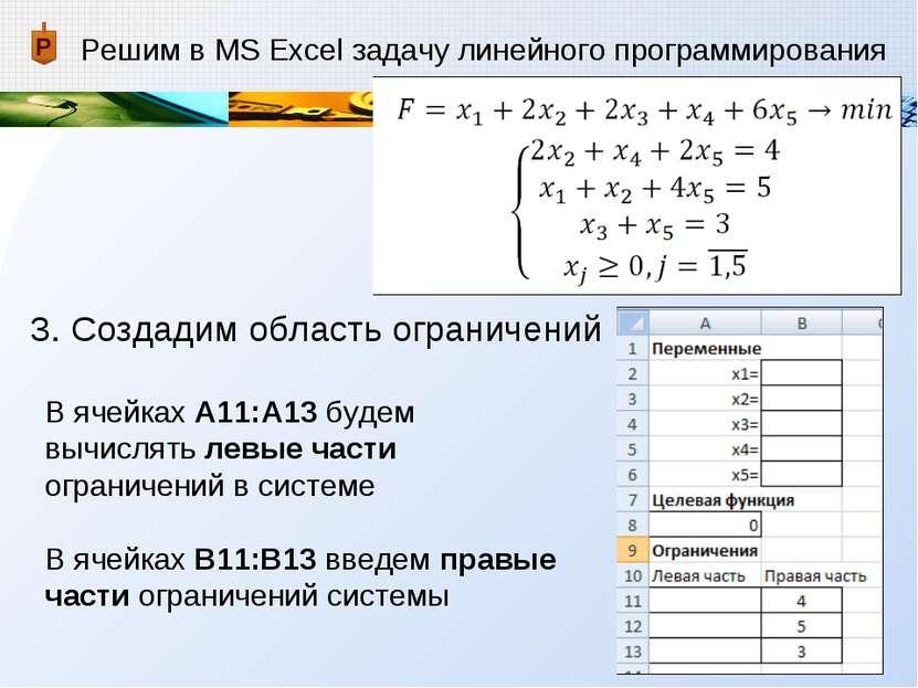 Решим в MS Excel задачу линейного программирования 3. Создадим область ограни...