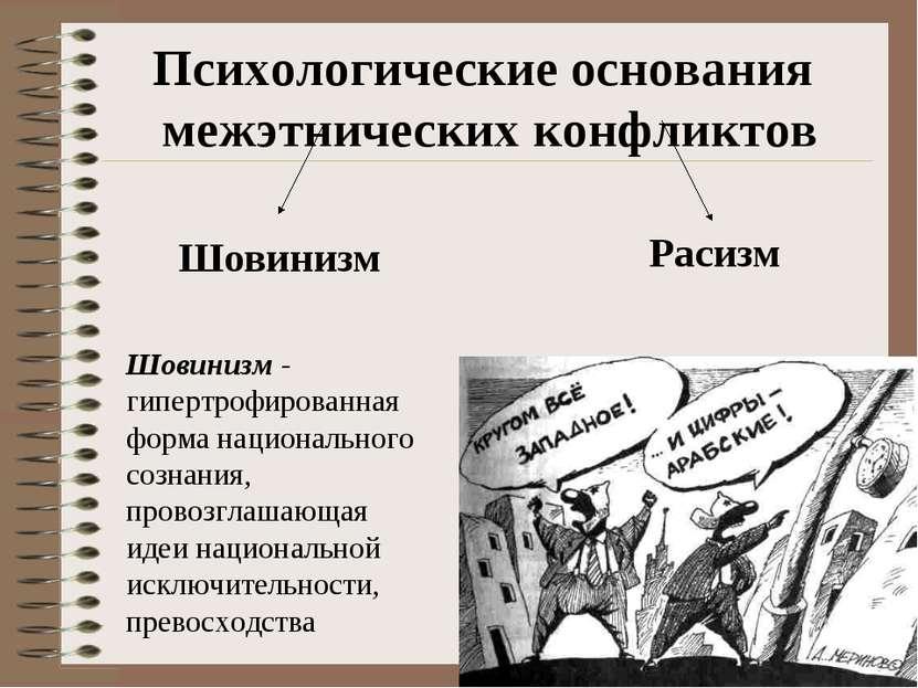 Психологические основания межэтнических конфликтов Шовинизм - гипертрофирован...