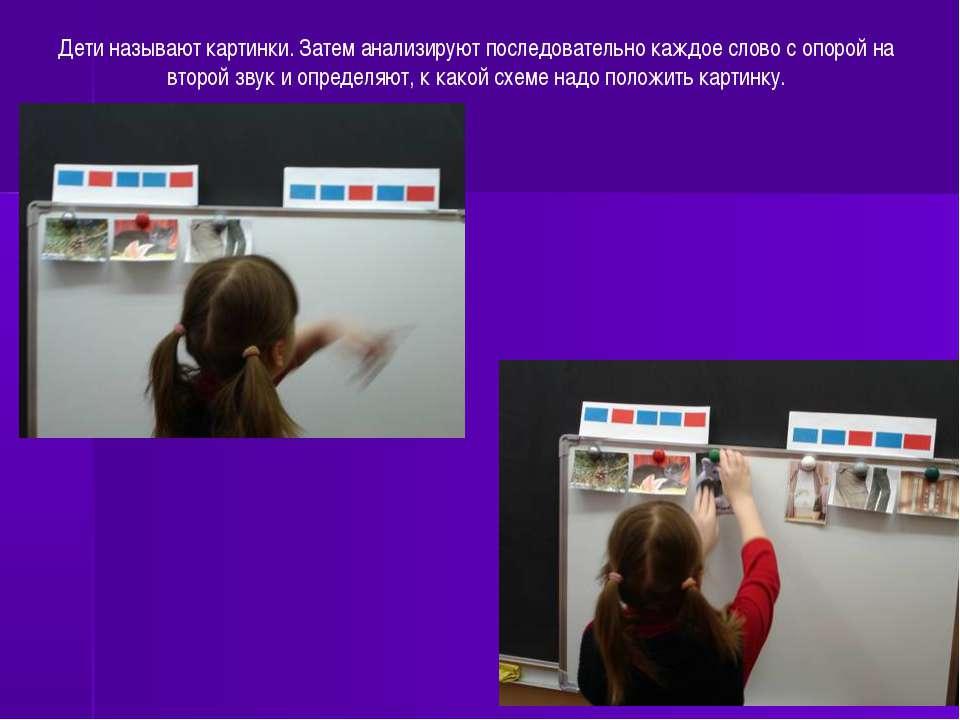 Дети называют картинки. Затем анализируют последовательно каждое слово с опор...