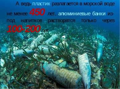 А ведь пластик разлагается в морской воде не менее 450 лет, алюминиевые банки...