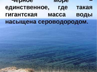 Черное море – единственное, где такая гигантская масса воды насыщена сероводо...