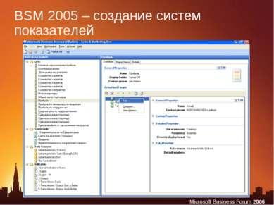 BSM 2005 – создание систем показателей Microsoft Business Forum 2006