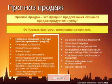 Прогноз продаж Прошлые продажи и тренды (анализ временных рядов) Сезонные кол...