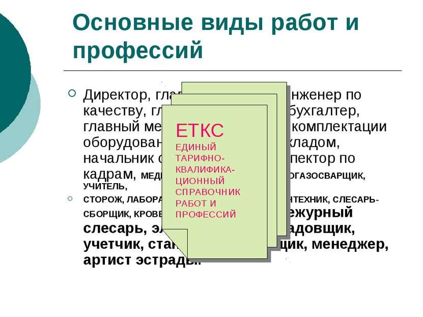 Основные виды работ и профессий Директор, главный инженер, инженер по качеств...