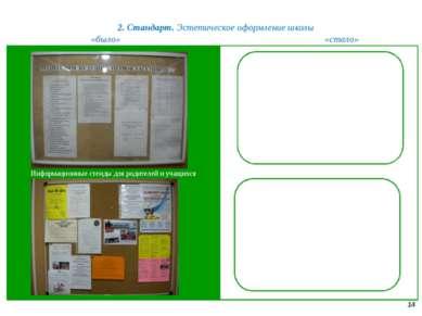 2. Стандарт. Эстетическое оформление школы 14 «было» «стало» Информационные с...
