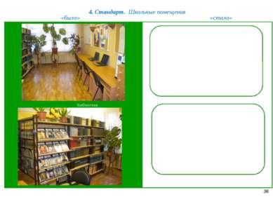 4. Стандарт. Школьные помещения 36 «было» «стало» Библиотека