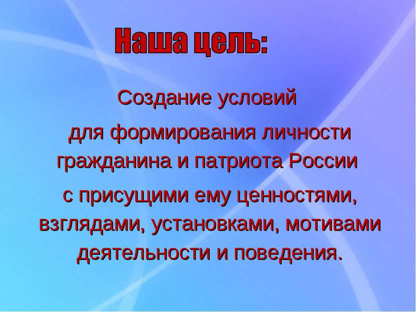 Создание условий для формирования личности гражданина и патриота России с при...
