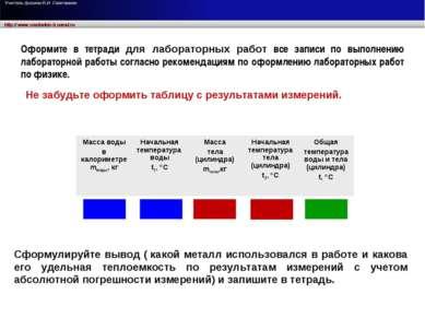 Не забудьте оформить таблицу с результатами измерений. Сформулируйте вывод (...