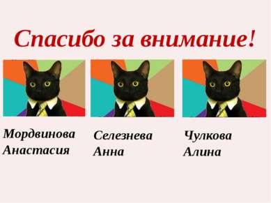 Спасибо за внимание! Мордвинова Анастасия Селезнева Анна Чулкова Алина